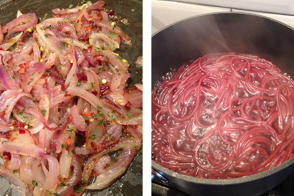 Italian drunken spaghetti cooking