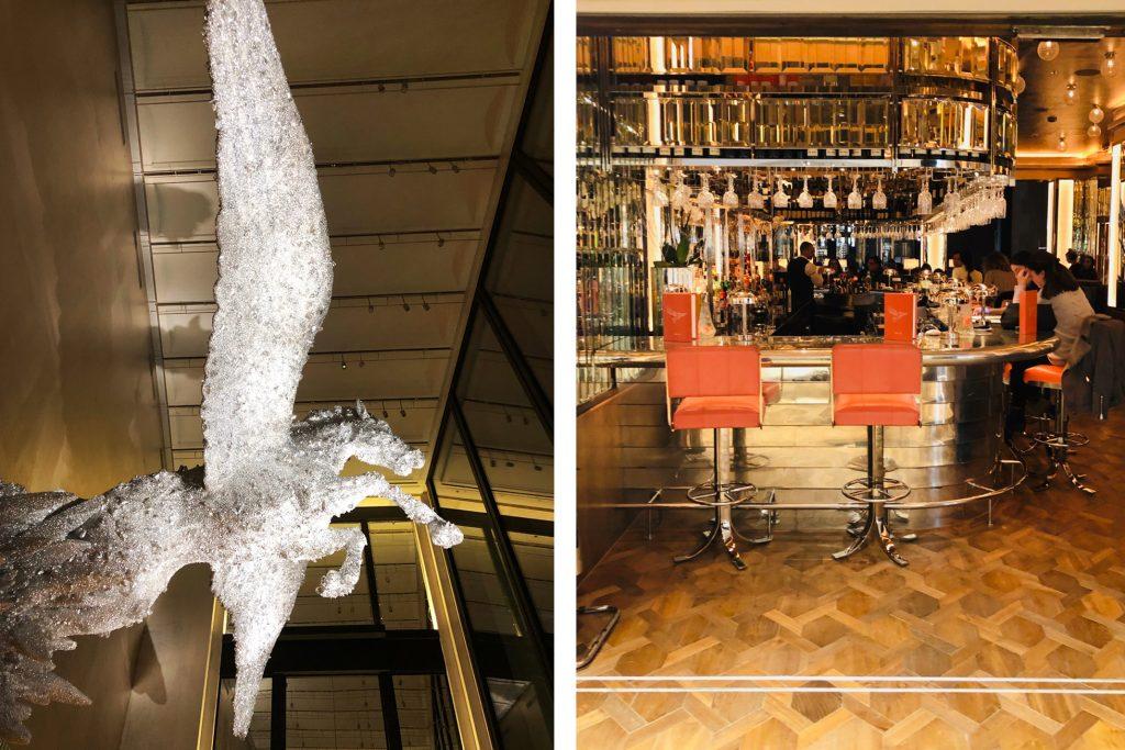 festive dining brasserie of light interior