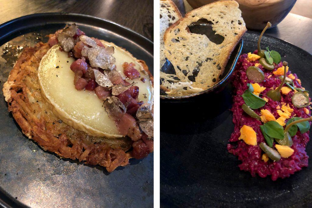 Heritage rosti and steak tartare